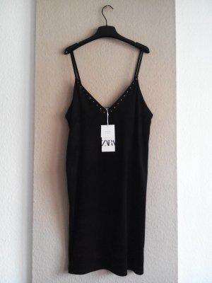 zara kurzes Trägerkleid in schwarz, Kunstleder-Optik, Größe M, neu