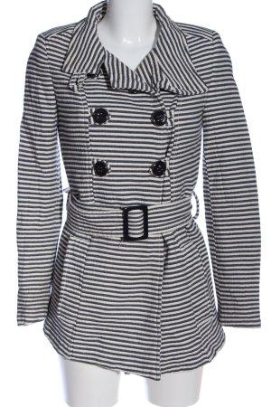Zara Kurzmantel weiß-schwarz Streifenmuster Casual-Look