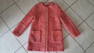 Zara Basic Manteau court saumon-blanc cassé laine