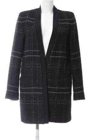 Zara Abrigo corto negro-blanco tejido mezclado