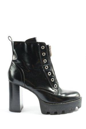 Zara Stivale a gamba corta nero effetto bagnato