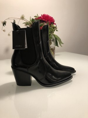 Zara Lackleder Stiefel Gummistiefel Stiefeletten schwarz Lackleder