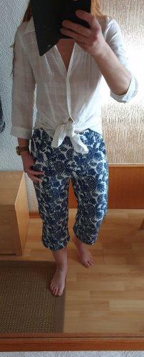 Zara Woman Pantalone culotte blu acciaio-bianco