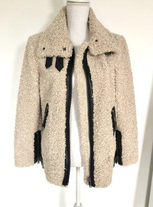 ZARA Lammfell Jacke XS 34 Beige Mantel Winter Teddy