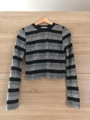 Zara langärmligstes Shirt, bauchfrei, grau/schwarz gestreift