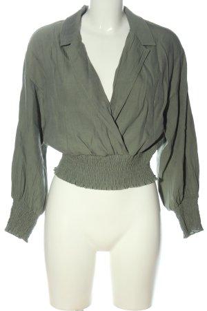 Zara Langarm-Bluse khaki Casual-Look
