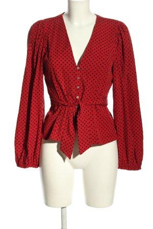 Zara Langarm-Bluse rot-schwarz Punktemuster Elegant