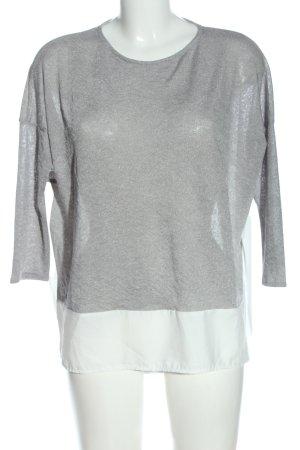 Zara Langarm-Bluse hellgrau-weiß Casual-Look