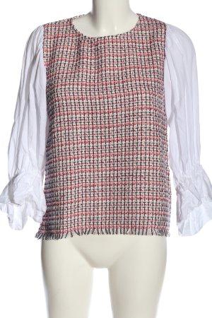 Zara Langarm-Bluse weiß-rot klassischer Stil