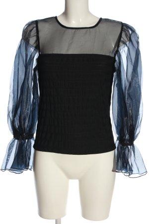 Zara Langarm-Bluse schwarz-blau Casual-Look