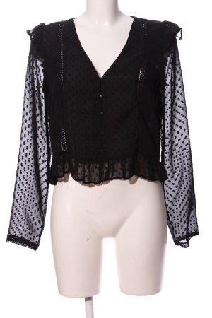 Zara Langarm-Bluse schwarz Punktemuster Elegant