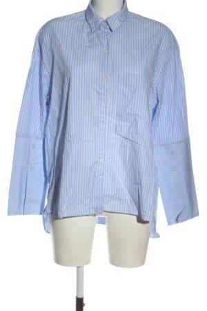 Zara Langarm-Bluse weiß-blau Streifenmuster Elegant