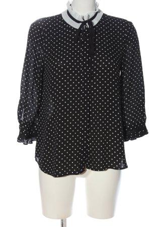 Zara Langarm-Bluse schwarz-wollweiß Punktemuster Casual-Look