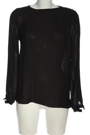Zara Langarm-Bluse schwarz Casual-Look
