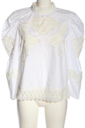Zara Langarm-Bluse weiß-wollweiß Elegant