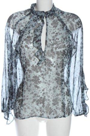 Zara Langarm-Bluse blau-schwarz Allover-Druck Elegant