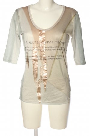 Zara T-Shirt hellgrau-wollweiß Schriftzug gedruckt Casual-Look