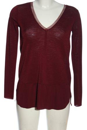 Zara Langarm-Bluse rot meliert Casual-Look
