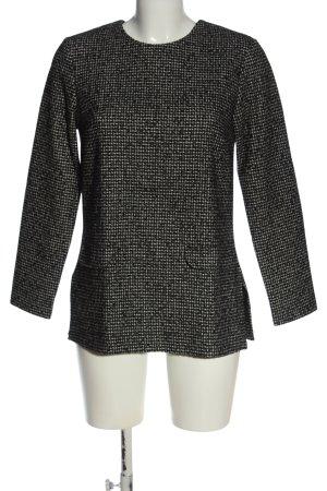 Zara Langarm-Bluse schwarz-weiß meliert Casual-Look