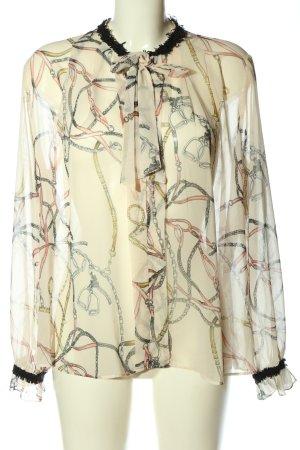Zara Langarm-Bluse wollweiß Motivdruck klassischer Stil
