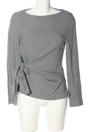 Zara Langarm-Bluse schwarz-weiß Allover-Druck Business-Look