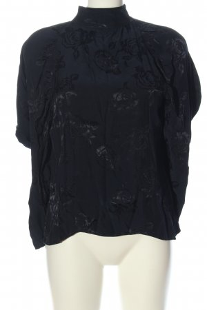 Zara Langarm-Bluse schwarz abstraktes Muster Business-Look
