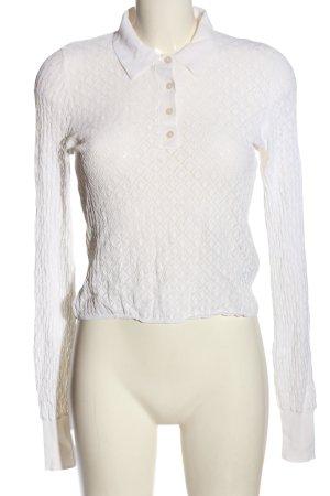Zara Langarm-Bluse weiß Webmuster Elegant