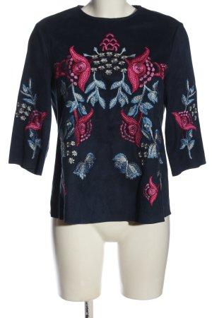 Zara Langarm-Bluse blau-pink Blumenmuster Casual-Look
