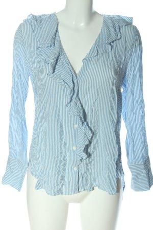 Zara Langarm-Bluse weiß-blau Allover-Druck Casual-Look