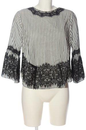 Zara Langarm-Bluse weiß-schwarz Allover-Druck Casual-Look
