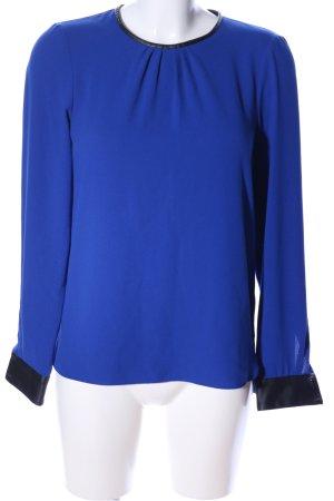 Zara Langarm-Bluse blau-schwarz Business-Look