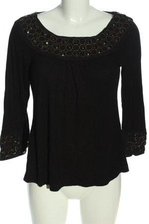 Zara Langarm-Bluse schwarz-goldfarben Punktemuster Casual-Look
