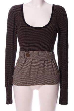 Zara Langarm-Bluse schwarz-braun Streifenmuster Casual-Look