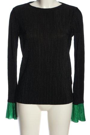 Zara Langarm-Bluse schwarz-grün Streifenmuster Casual-Look
