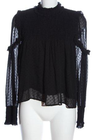 Zara Langarm-Bluse schwarz Elegant