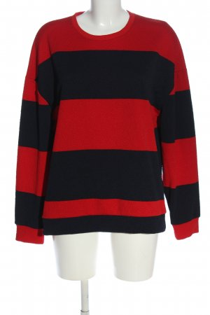 Zara Langarm-Bluse rot-schwarz Allover-Druck Casual-Look