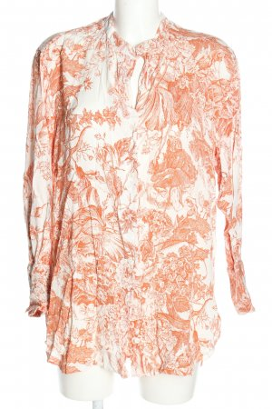 Zara Langarm-Bluse weiß-hellorange Allover-Druck Business-Look