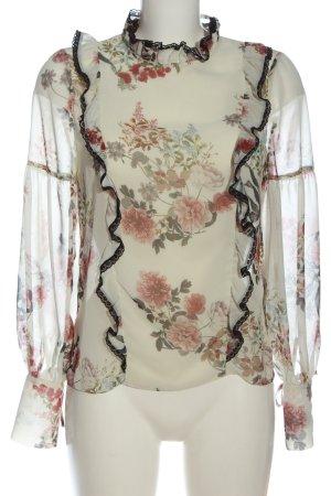 Zara Langarm-Bluse Blumenmuster Casual-Look