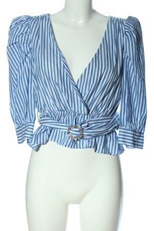 Zara Langarm-Bluse weiß-blau Streifenmuster Casual-Look