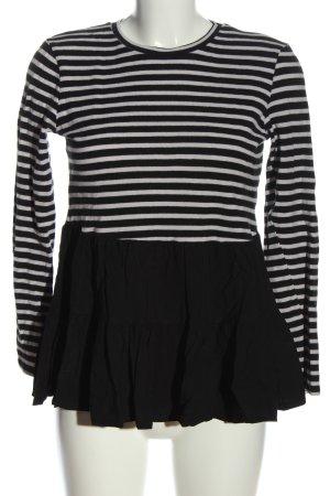 Zara Langarm-Bluse schwarz-weiß Streifenmuster Casual-Look