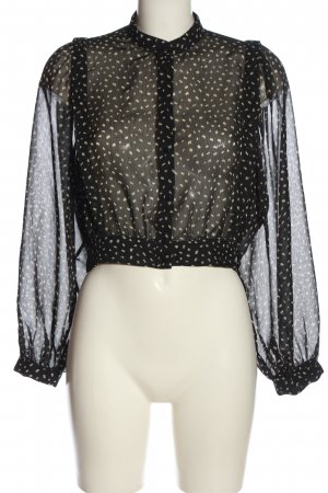 Zara Langarm-Bluse schwarz-wollweiß abstraktes Muster Casual-Look