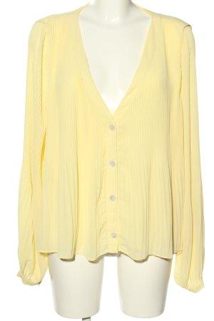 Zara Langarm-Bluse blassgelb Streifenmuster Casual-Look