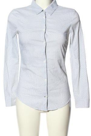 Zara Langarm-Bluse weiß-schwarz Allover-Druck Business-Look