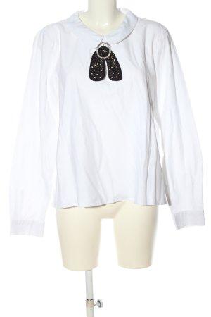 Zara Langarm-Bluse weiß-schwarz Elegant