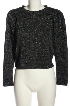 Zara Langarm-Bluse schwarz-hellgrau Casual-Look