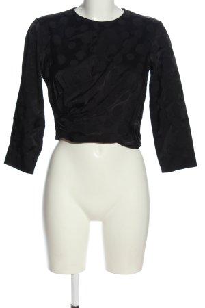 Zara Langarm-Bluse schwarz Punktemuster Casual-Look