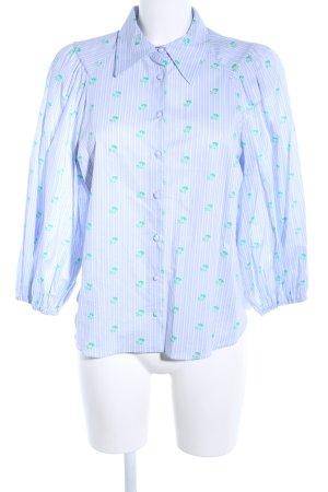 Zara Langarm-Bluse blau-grün Allover-Druck Casual-Look