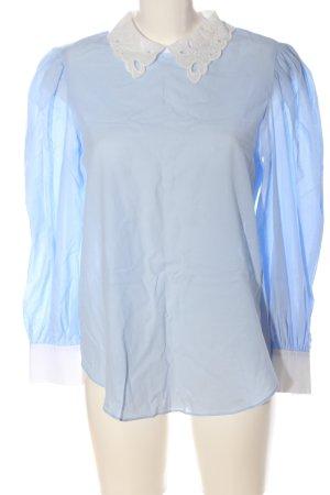 Zara Langarm-Bluse blau-weiß Casual-Look