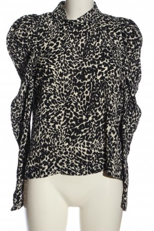 Zara Langarm-Bluse schwarz-weiß Allover-Druck Casual-Look