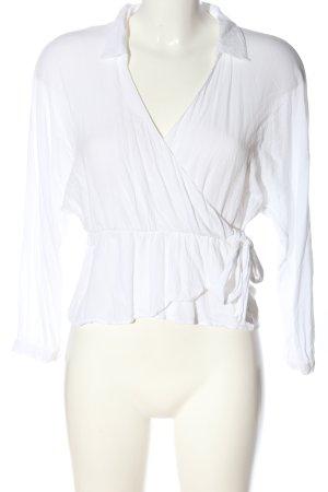 Zara Langarm-Bluse weiß Casual-Look